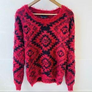 Jeans by Buffalo Aztec red black eyelash sweater M